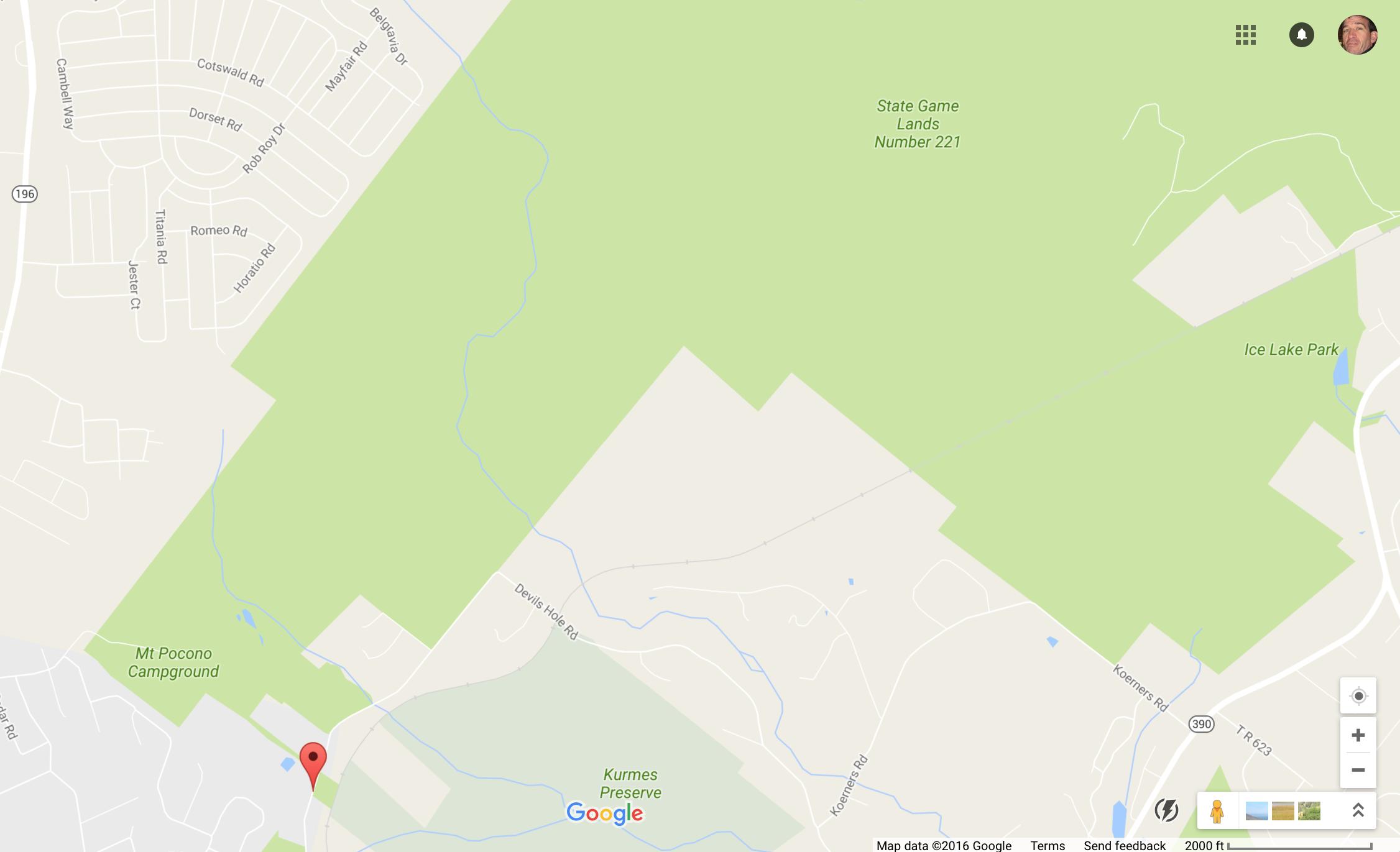 Google Maps Devils Hole PA Crop